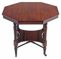 Antique Victorian walnut octagonal centre window side occasional table loo