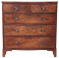 Antique Georgian 18C 19C flame mahogany bow front chest of drawers