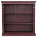 Antique Victorian 19C mahogany open bookcase adjustable shelves
