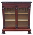 Antique quality Victorian 19C Gothic mahogany glazed bookcase marble top