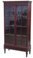 Antique quality Victorian 19C mahogany tall glazed bookcase display cabinet