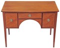 Antique Victorian 19C small inlaid satin birch sideboard desk writing table