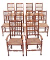 Antique set of 10 (8 + 2) oak rush 18C Lancashire style dining chairs