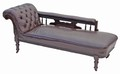 Antique Victorian leather walnut sofa chaise longue settee armchair