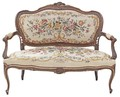 Antique painted Louis XV sofa chaise longue