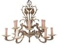 Antique birdcage bow 12 lamp ormolu brass bronze chandelier FREE DELIVERY