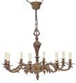 Antique 8 lamp ormolu brass bronze chandelier light FREE DELIVERY