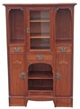 Antique Arts and Crafts inlaid mahogany display cabinet cupboard bookcase