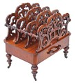 Antique Victorian 19C walnut acanthus Canterbury magazine rack
