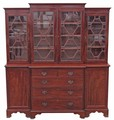 Antique large Georgian and later breakfront glazed display cabinet bookcase