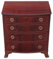 Antique Georgian revival inlaid flame mahogany bow front chest of drawers