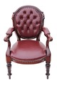 Antique quality William IV carved walnut leather library desk chair armchair