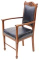 Antique Victorian Arts and Crafts oak leather armchair throne chair carver
