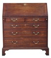 Antique Georgian 18C crossbanded oak fruitwood bureau desk writing table