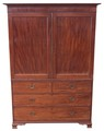 Antique Georgian mahogany linen press wardrobe armoire chest of drawers