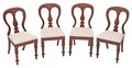 Antique set of 4 Victorian 19C mahogany dining chairs central splat