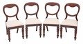 Antique set of 4 Victorian 19C mahogany dining chairs balloon back drop in