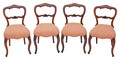 Antique set of 4 Victorian 19C carved rosewood balloon back dining chairs