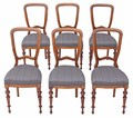 Antique set of 6 Victorian beech dining chairs balloon back