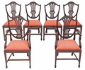 Antique quality set of 6 (4+2) Georgian revival mahogany dining chairs