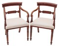 Antique pair of Georgian Regency 19C walnut elbow armchairs chairs desk