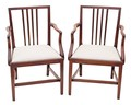 Antique pair of Georgian Victorian 19C rosewood elbow armchairs chairs desk
