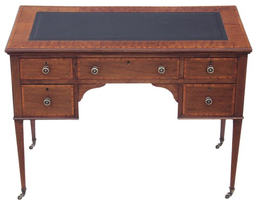 Antique Quality Edwardian inlaid mahogany & leather desk writing table