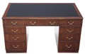 Antique large quality mahogany & leather twin pedestal desk writing table