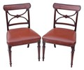 Antique pair of Georgian Regency 19C mahogany leather dining chairs desk