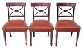 Antique set of 3 Regency 19C mahogany leather dining chairs desk pair
