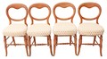 Antique set of 4 Victorian beech kitchen dining chairs balloon back bedroom
