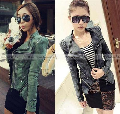 Women Fashion Punk Motorcycle Rivet Denim Slim Jean Coat Jacket Outwear WCOT163