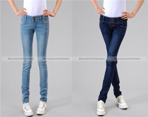 Women Fashion Vintage Denim Slim Fit Jeans Pencil Pants Trousers ...