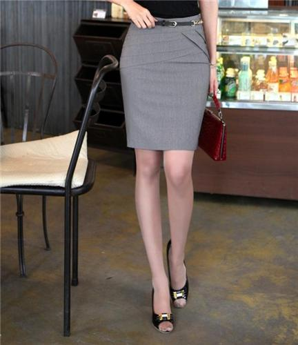 Women Fashion Slim Pencil Knee Formal Short Skirt Black Grey Dark ...