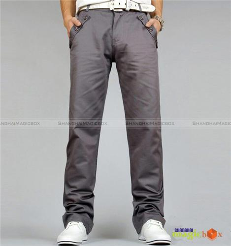Men Trendy Casual Pants Trousers Gray Khaki Black #MPT014 ...