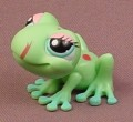 Littlest Pet Shop #1214 Light Green Tree Frog With Red Spots & Tongue, Blue Green Eyes