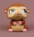 Littlest Pet Shop #1322 Dark Brown Hamster With Blue Eyes, Pink Feet & Hand, Portable Pets