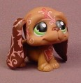 Littlest Pet Shop #1358 Brown Basset Hound Puppy Dog With Pink Designs On The Head