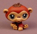 Littlest Pet Shop #1510 Dark Brown Baby Chimpanzee Monkey With Blue Eyes, 2006 Hasbro