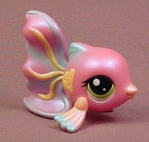 Littlest pet shop 1814 pearly pink guppy fish with green for Fish pet shop