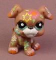 Littlest Pet Shop #1840 Brown Boxer Puppy Dog With Flower Design All Over The Body