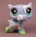 Littlest Pet Shop #1850 Light Blue Hippo Hippopotamus With Clouds & Flowers Design