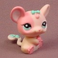Littlest Pet Shop #1863 Pink Mouse Or Rat With Blue Eyes, One Side Of The Face is Dark Pink