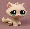 Littlest Pet Shop #2079 Tan Kitty Cat Kitten With Blue Green Eyes, Gray Brown Hair