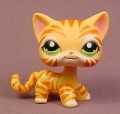 Littlest Pet Shop #1451 Orange Kitty Cat Kitten With Tiger Stripes & Green Eyes, Jungle Tiger