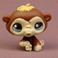 Littlest Pet Shop #1122 Dark Brown Baby Chimpanzee With Light Blue Eyes, Cream Face