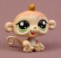 Littlest Pet Shop #1551 Cream & Brown Baby Monkey With Green Eyes, Petriplets, Triplets