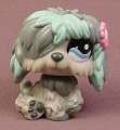 Littlest Pet Shop #1513 Gray & Teal Blue Sheepdog Puppy Dog With Fancy Blue Eyes