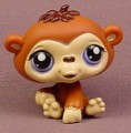 Littlest Pet Shop #1347 Brown Baby Chimpanzee With Purple Eyes, Tan Or Cream Face