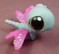 Littlest Pet Shop #1232 Teal Blue Dragonfly With Orange Brown Eyes, Purple Wings
